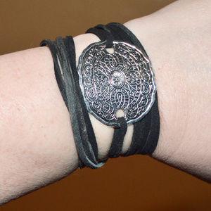 Tie Wrap Etched Silver Bracelet Cuff Yoga Boho
